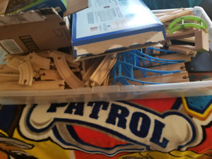 Large lot of wooden trains
