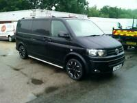 VW Transporter HIGHLINE-6 SPEED LWB,64 REG,BLACK,ONLY 81k FROM NEW,VERY TIDY VAN