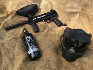BT Combat paintball gun with co2 tank and mask.