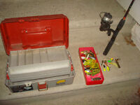 vintage fishing lures , rod ,reel and tackle box