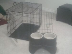 DOGE CRATE AND RAISED DOG BOWLS