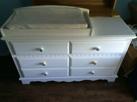 White Baby / Kid Dresser with removable changing station
