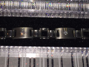 #8--- men's stainless steel bracelet with cubic zirconia