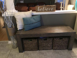 Rustic foyer bench!