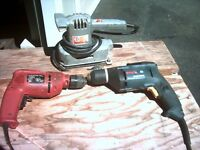 Electric Sander, giprock drill and a standard drill