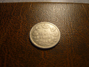Vintage Canadian 1888, 5 Cent Coin Very Good Condition!