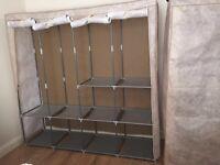 Large metal frame fabric wardrobe