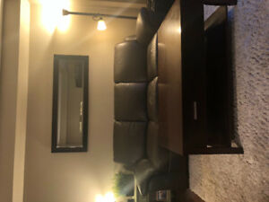 Leather couch, chair, ottoman & coffee table + side table