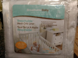 Breathable Baby White Crib Soft Mesh Bumper Pads