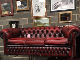 Oxblood Chesterfield Leather 3 Seater Sofa - UK Delivery