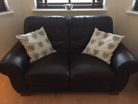 3 Seater and 2 Seater brown leather sofas. £150ono buyer to collect
