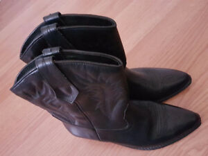 Western Seychelles Black Boot Ankle Cowboy/girl Leather Made in