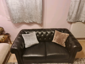 Habitat Chesterfield 2 Seater Leather Sofa - Black