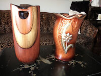 """two (2) vases one is 9 inches high and the other 8"""" high mint"""