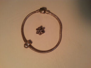Pandora Bangle Bracelet with Baby Boy and Snowflake Charms