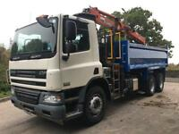 2009 59 DAF CF 75.310 6x4 steel tipper Atlas Terex 118.2 crane and grab
