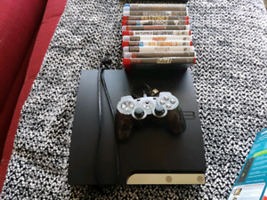 Ps3 console, wireless controller, many games.