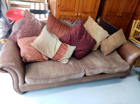 3+1 leather and fabric sofa
