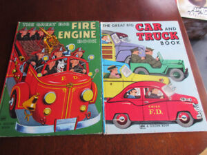 2 x VINTAGE Great Big Car and Truck Book &Fire Engine Book