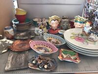 Occupied Japan figurines, lighters and ashtrays