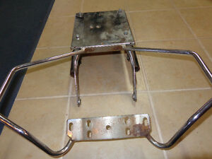 Older Harley pas grab rails and beer box rack-  recycledgear.ca