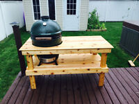 Cedar table for Green egg or Commando Joe smoker/BBQ