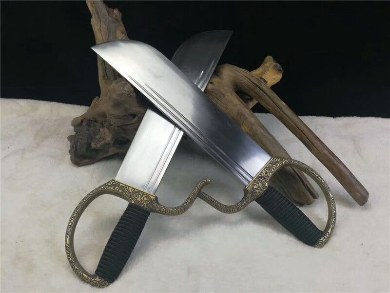Details about Set of 2 Wing Chun Butterfly Sword Broadsword Bart Cham Dao  Carbon Steel Blade