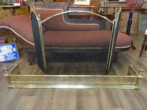 Three Panel Brass Fire Screen at The Old Attic