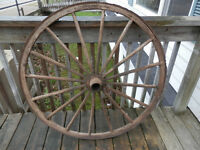 "43"" Large Wooden Cart Wheel"