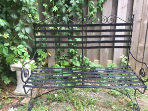 Cast iron Patio Bench  Lounge chaise with Wheels Urns Planters