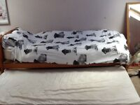 Single bed with trundle bed, no mattresses
