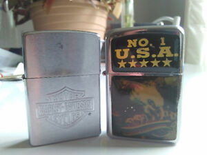 HARLEY DAVIDSON AND BALD EAGLE ZIPPO LIGHTERS