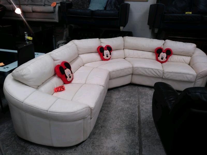 Pleasing White Ivory Leather Corner Sofa In Drumchapel Glasgow Gumtree Pdpeps Interior Chair Design Pdpepsorg