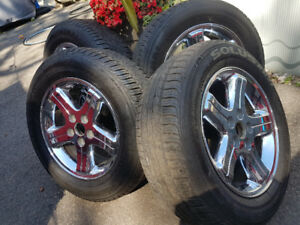 "4 MAGS CHROME 16"" PNEUS TIRES 225-60-16 RIMS JANTES WHEELS"