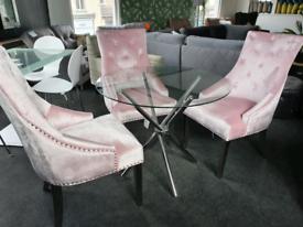 NEW Pink Velvet Knocker Chairs + Glass Chrome dining table Dining Set