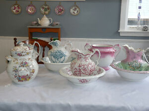 Antique Dishes, Dry Wash Pitcher and Basin Sets , Furniture