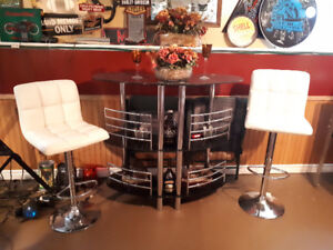 Gorgeous bar with padded stools