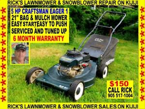 A 5 HP 20'' CRAFTSMAN EAGER 1 BAG AND MULCH LAWNMOWER