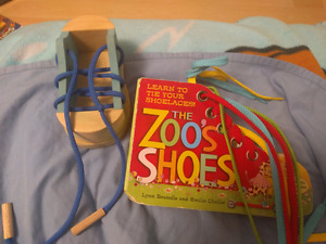 Learn to tie shoes book and wooden shoe