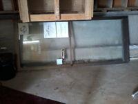 Porte Solide en Alu brun + double vitrage pour commerce
