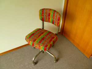 Vintage Rolling Desk Chair; Mid Century; Retro; Upholstered