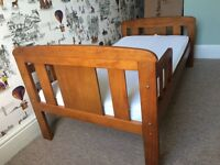 John Lewis Antique Wood Toddler Bed Childrens + KATY Safety Foam Washable Deluxe Junior Mattress