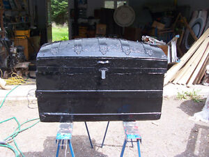 Antique Round Top Trunk  33 BY 19 AND 19 Tall