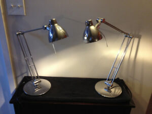 Pair of IKEA ANTIFONI work lamps, nickel-plated; mint condition