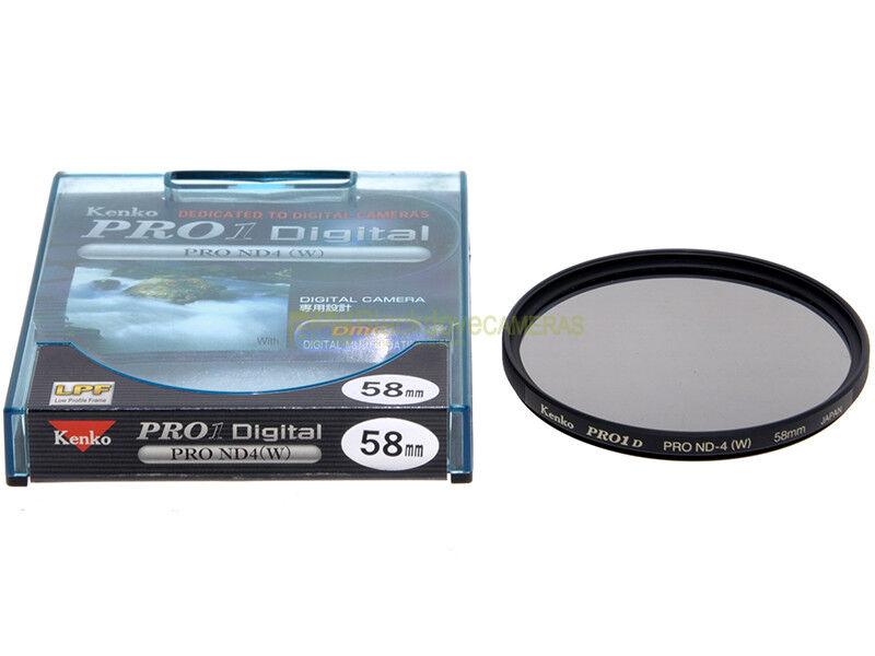 58mm. filtro Neutral Density ND-4 (W) Kenko Pro D. Filtro neutro +2 stop.