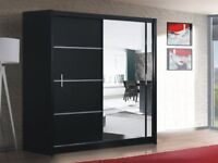 SUPERIOR QUALITY- NEW MODERN HIGH GLOSS WARDROBE IN BLACK WHITE COLOR 208 cm and 255 cm -- 50 % OFF