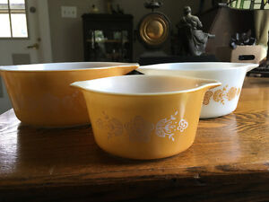 3 set of Butterfly Gold Cinderella Pyrex Casserole Dishes