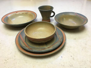 Pottery dinner service handcrafted by Patricia O'Brien.