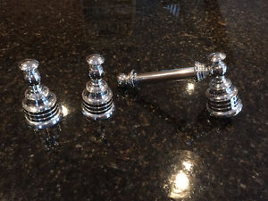 Chrome toilet paper holder and bath robe hooks Peterborough Peterborough Area image 1
