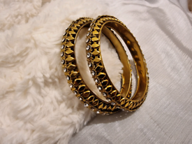 Indian jewellery gold tone set of 2 bangles bracelets accessories